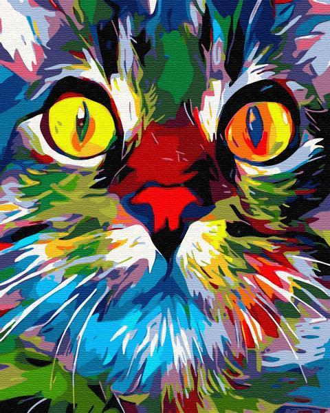 GХ 31936 Радужный кот Картина по номерам на холсте 40х50см, без коробки