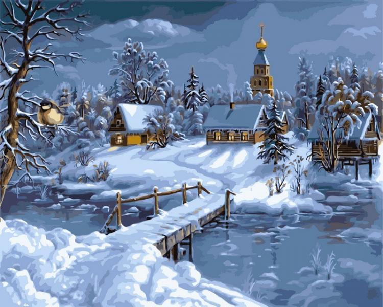 Фото Картины на холсте по номерам, Зима! Новый Год! Рождество! VP 169