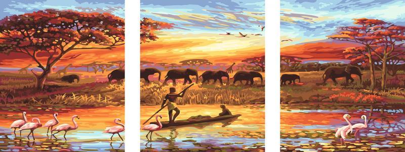 Фото Картины на холсте по номерам, Триптих, диптих PX5166 ТРИПТИХ Закат над Нилом Роспись по номерам на холсте 120х50см