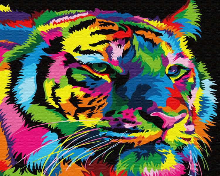 Фото Картины на холсте по номерам, Животные. Птицы. Рыбы... KGХ 31949 Радужный тигр Картина по номерам на холсте 40х50см
