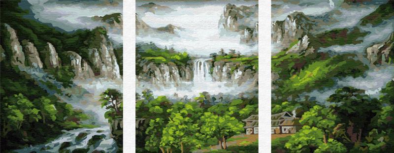 Фото Картины на холсте по номерам, Триптих, диптих PX5091 ТРИПТИХ Водопад Роспись по номерам на холсте 120х50см