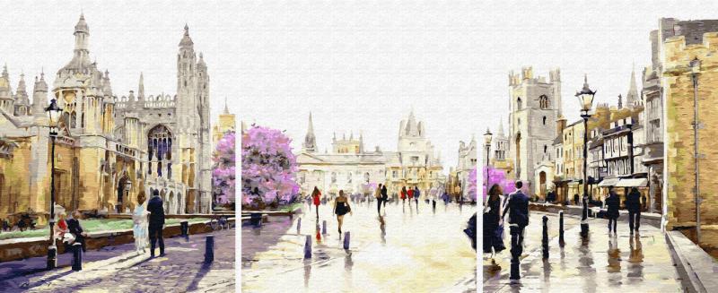 Фото Картины на холсте по номерам, Триптих, диптих PX5269 ТРИПТИХ Весенний Лондон Роспись по номерам на холсте 120х50см