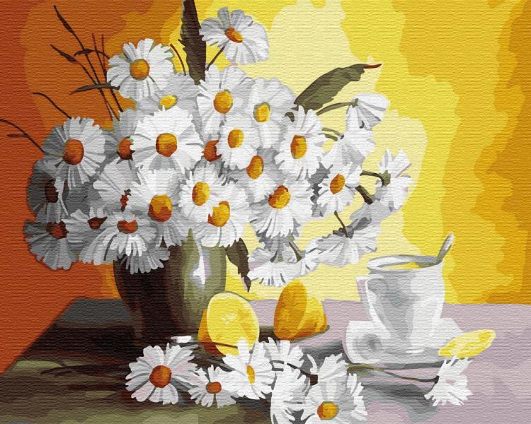 Фото Картины на холсте по номерам, Картины  в пакете (без коробки) 50х40см; 40х40см; 40х30см, Цветы, букеты, натюрморты GХ 29442 Чай с лимоном и ромашки Картина по номерам на холсте 40х50см, без коробки в пакете