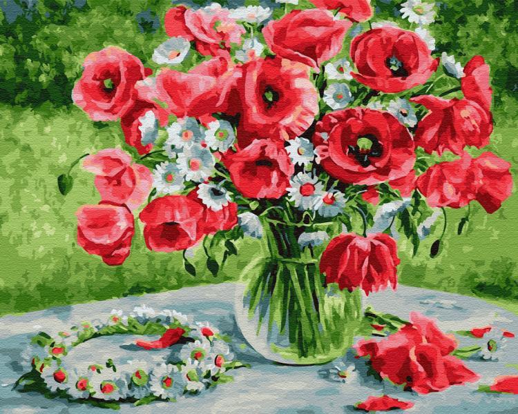 Фото Картины на холсте по номерам, Букеты, Цветы, Натюрморты KGХ 30137 Маковое великолепие Картина по номерам на холсте 40х50см