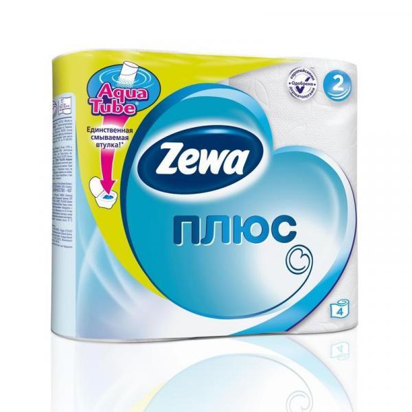 """Бумага туалетная """"Zewa Plus"""" двухсл., 4 рул/уп., белая"""
