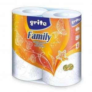 Бумага туалетная GRITE family, двухслойная, 4 шт/уп