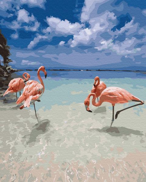 Фото Конструкторы, Деревянные сборные модели, Животные, птицы, рыбы GХ 31015 Фламинго на отдыхе Картина по номерам на холсте 40х50см, без коробки, в пакете
