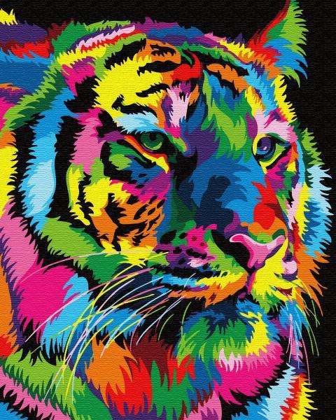 Фото Конструкторы, Деревянные сборные модели, Животные, птицы, рыбы GХ 31915 Радужный тигр Картина по номерам на холсте 40х50см, без коробки, в пакете