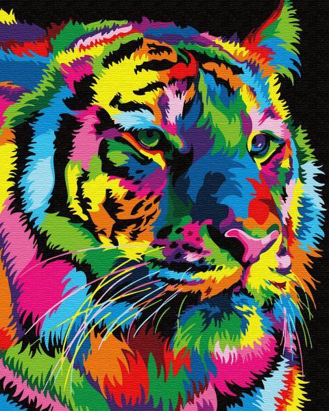 Фото Картины на холсте по номерам, Животные. Птицы. Рыбы... KGХ 31915 Радужный тигр Картина по номерам на холсте 40х50см