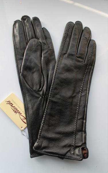 Женские кожаные перчатки удлинённые черные