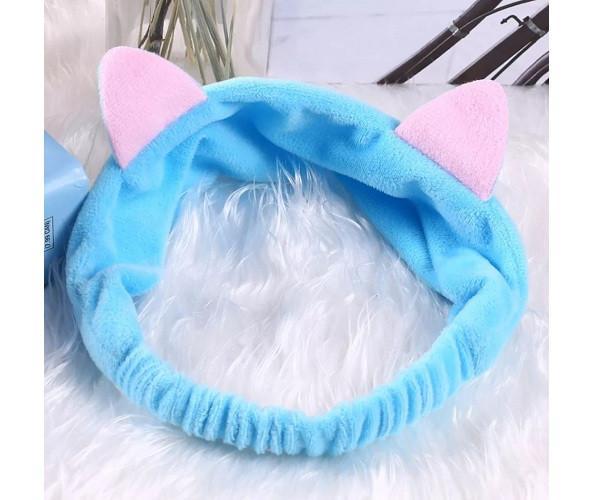 Косметическая повязка на голову с ушками Double Dare Hair Band голубая (PO0112)
