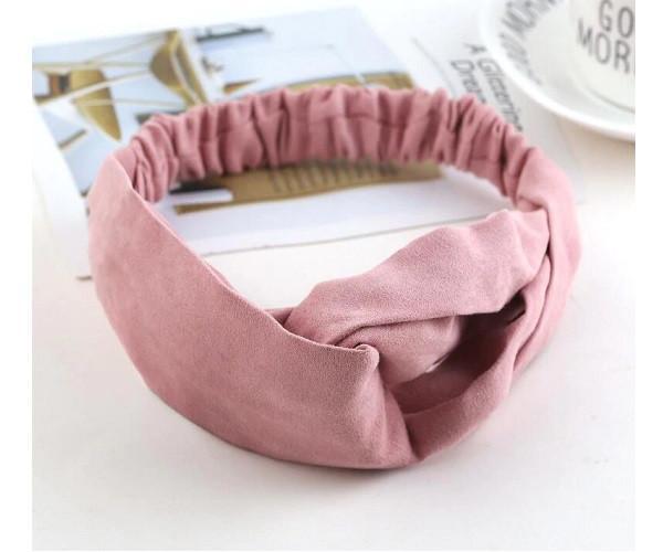 Повязка для волос  Double Dare  экозамшевая розовая (PO0114)