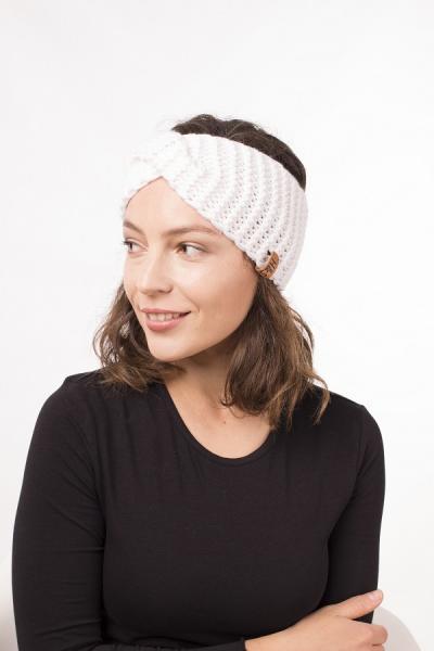 Женская зимняя повязка на голову ручной работы Hat&Scarf белоснежный (02/55)