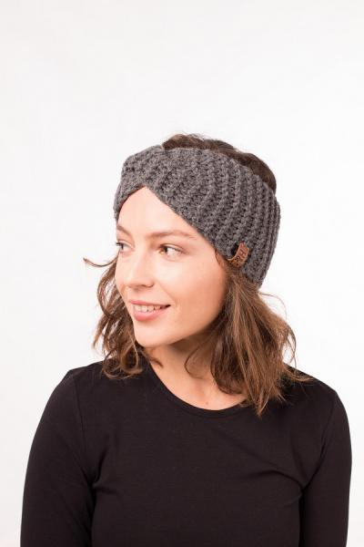 Женская зимняя повязка на голову ручной работы Hat&Scarf темный меланж (02/182)