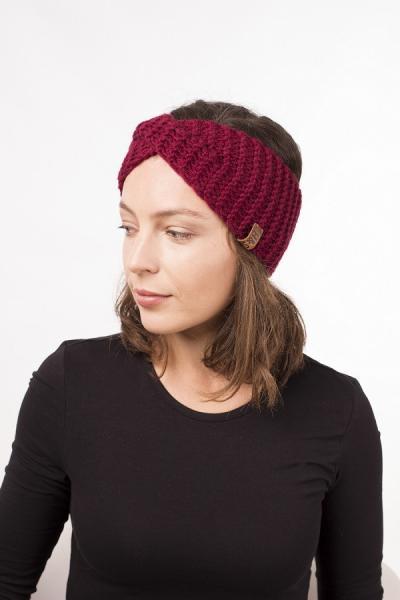 Женская зимняя повязка на голову ручной работы Hat&Scarf бордовый (02/57)