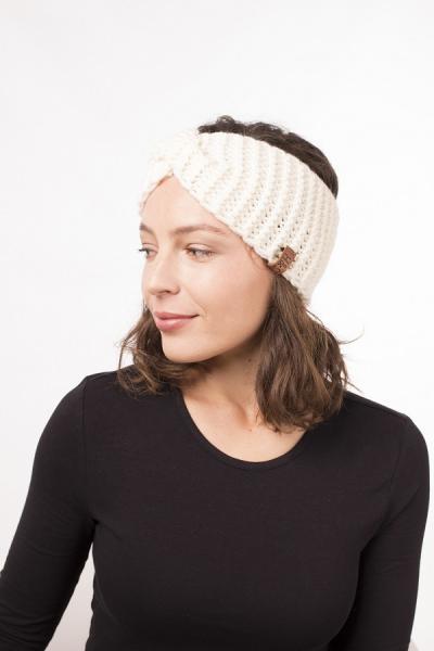 Женская зимняя повязка на голову ручной работы Hat&Scarf молоко (02/62)