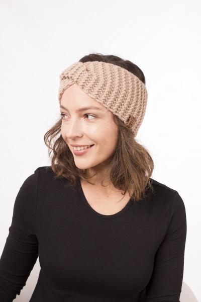 Женская зимняя повязка на голову ручной работы Hat&Scarf карамель (02/05)