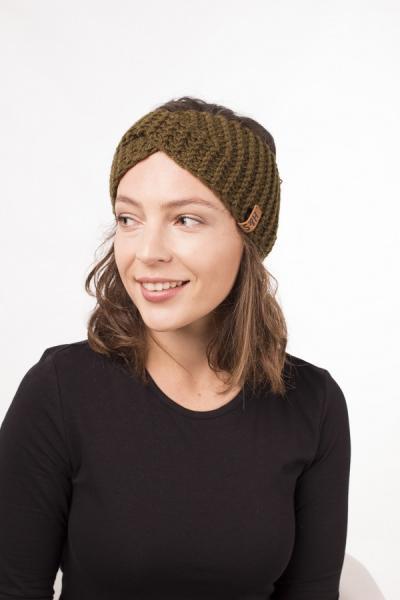 Женская зимняя повязка на голову ручной работы Hat&Scarf темная оливка (02/204)