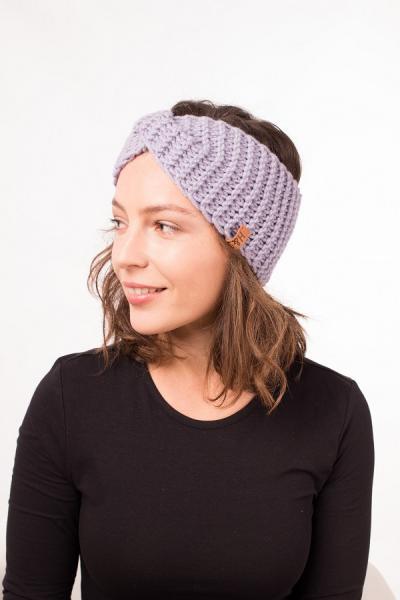 Женская зимняя повязка на голову ручной работы Hat&Scarf вереск (02/200)