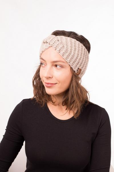Женская зимняя повязка на голову ручной работы Hat&Scarf холодный беж (02/152)