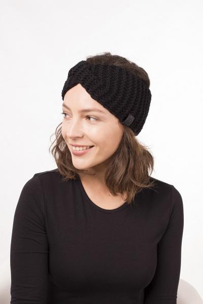 Женская зимняя повязка на голову ручной работы Hat&Scarf черный (02/60)