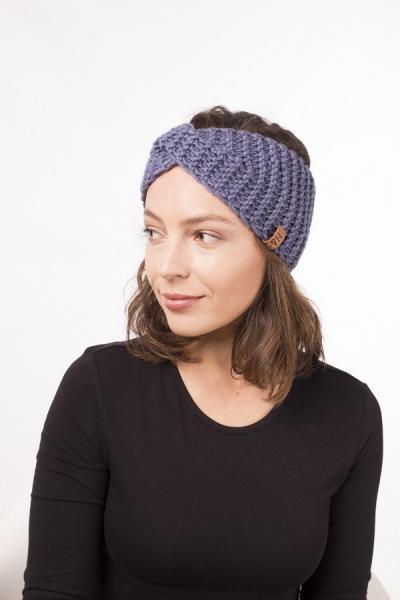 Женская зимняя повязка на голову ручной работы Hat&Scarf джинс (02/203)