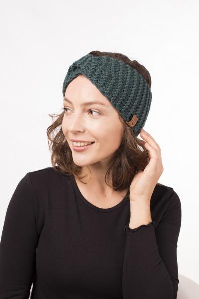 Женская зимняя повязка на голову ручной работы Hat&Scarf изумруд (02/426)