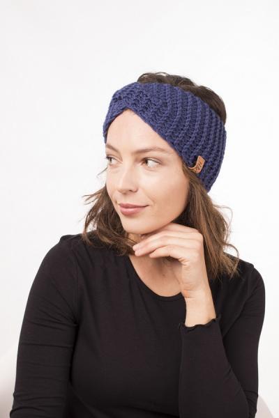 Женская зимняя повязка на голову ручной работы Hat&Scarf черника (02/215)