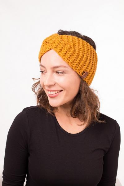 Женская зимняя повязка на голову ручной работы Hat&Scarf горчичная