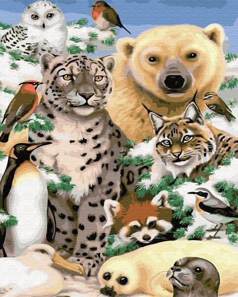 Фото Конструкторы, Деревянные сборные модели, Животные, птицы, рыбы GХ 31924 Животные Севера Картина по номерам на холсте 40х50см, без коробки, в пакете
