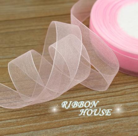 Фото Ленты, Лента органза однотонная Лента Органза светло розовая  цвета 2,5 см.