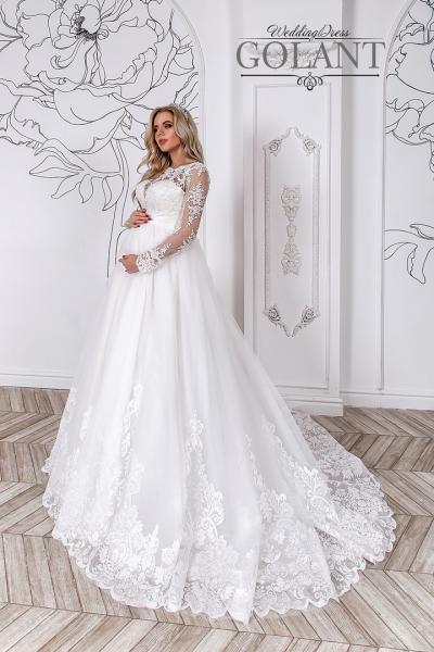 Свадебное платье для беременных со шлейфом и рукавами Власта