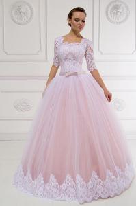 Фото Свадебные платья Пышное свадебное платье с кружевом и рукавами Даниэль