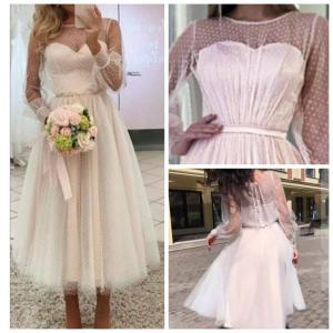 Фото Свадебные платья Короткое свадебное платье с рукавами Натали