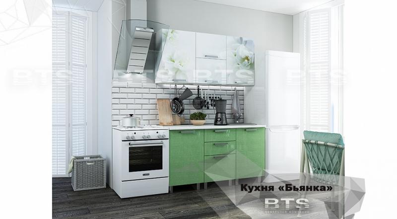 Фото Кухни готовые Кухня Бьянка 1,5м салатовые блестки/фотопечать (БТС)
