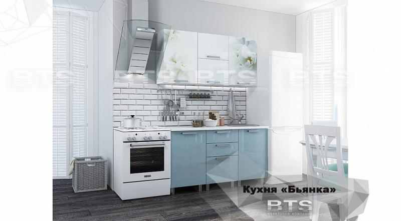 Фото Кухни готовые Кухня Бьянка 1,5м голубые блестки/фотопечать (БТС)