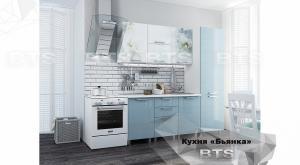 Кухня Бьянка 2,1м с пеналом голубые блестки/фотопечать (БТС)