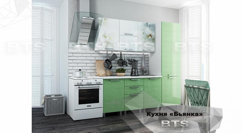 Фото Кухни готовые Кухня Бьянка 2,1м с пеналом салатовые блестки/фотопечать (БТС)