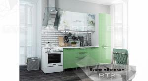 Кухня Бьянка 2,1м с пеналом салатовые блестки/фотопечать (БТС)