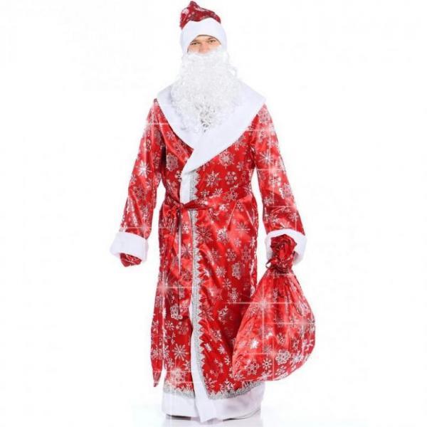 Карнавальный костюм «Дед Мороз», сатин, размер 54-56, цвет красный