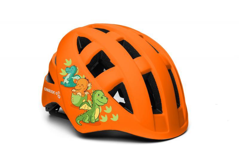 Шолом дитячий ONRIDE Bud помаранчевий з динозаврами