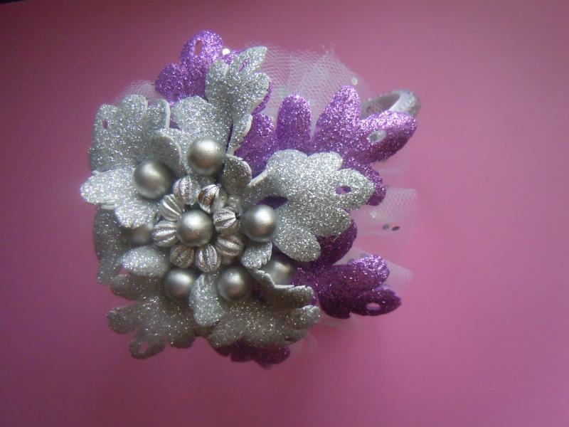 Фото Готовые изделия хенд мейд, Ободки хенд мейд Обруч со снежинкой из фоамирана серебро -сирень