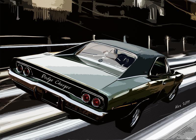 Картина Додж ретро Dodge Charger 1968