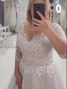 Фото Свадебные платья Свадебное платье для полных пудра с блестящей юбкой Гаяна