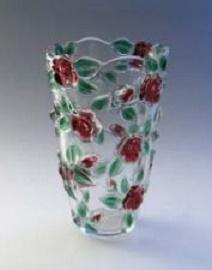 Стильная, декоративная ваза WALTER GLASS Tatiana Red Green h 180