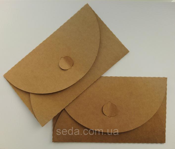 Подарочный конверт из эко крафт-картона 155 х 90 мм + ПОДАРОК 220 г/кв.м