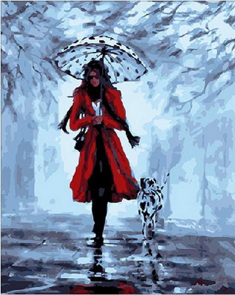 Фото Картины на холсте по номерам, Романтические картины. Люди Q155 Девушка с далматинцем  Роспись по номерам на холсте 40х50см