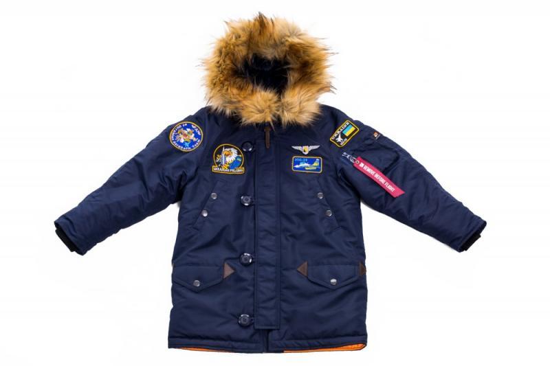 Дитяча зимова аляска Olymp, з нашивками Ukrainian Falcons , Navy
