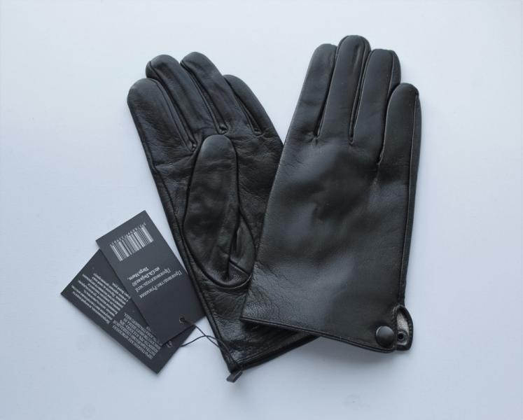 Мужские кожаные перчатки, подкладка вязка черные