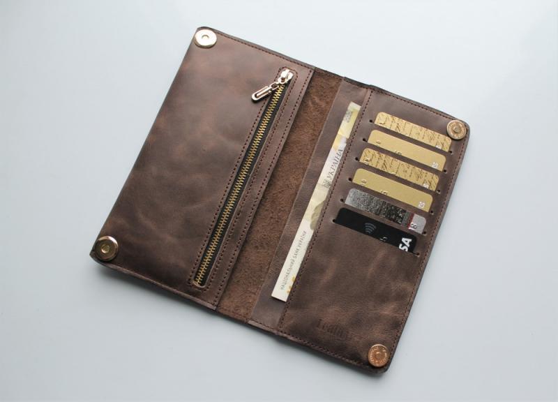 """Мужской кошелек из натуральной кожи """"Leone"""" коричневый"""